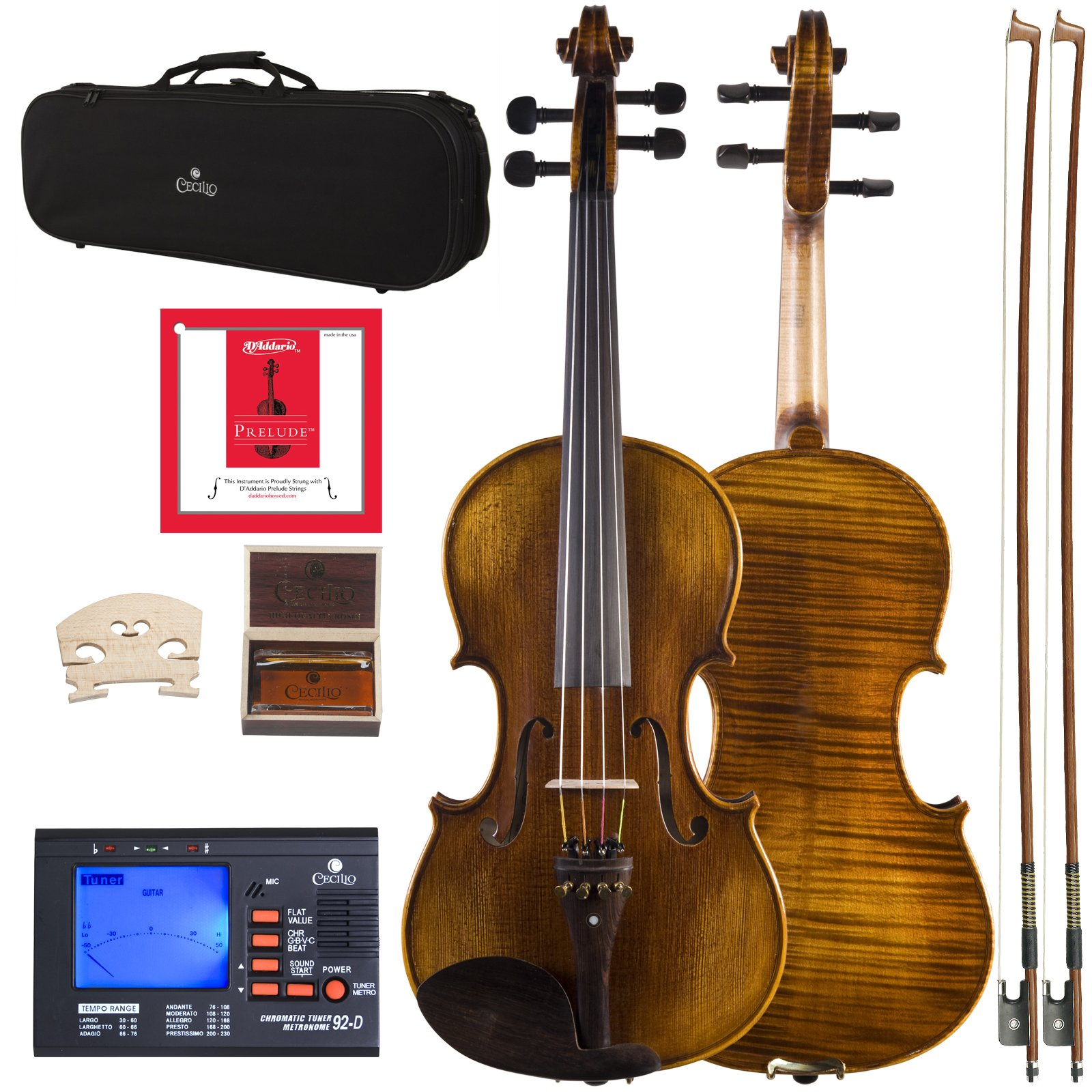 Cecilio 16 Inch Viola Strung with D'Addario Prelude Strings, Finished with Hand Oil Rubbed and Highly Flamed 2-Piece Back Solidwood, CVA-600