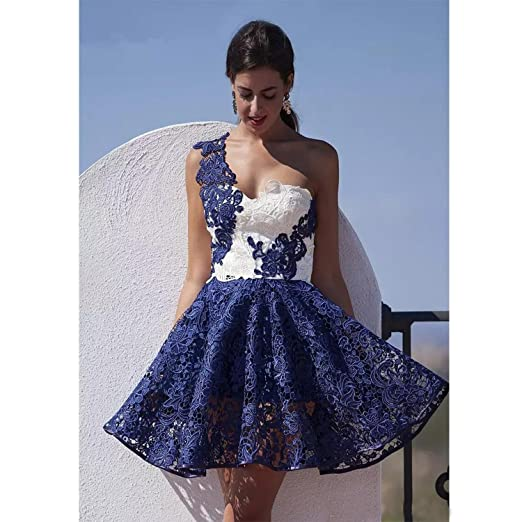 6444ff38a27 Dimei One Shoulder Lace Mini Prom Dress 2018 Full Lace Short Sweetheart  Formal Dress at Amazon Women s Clothing store