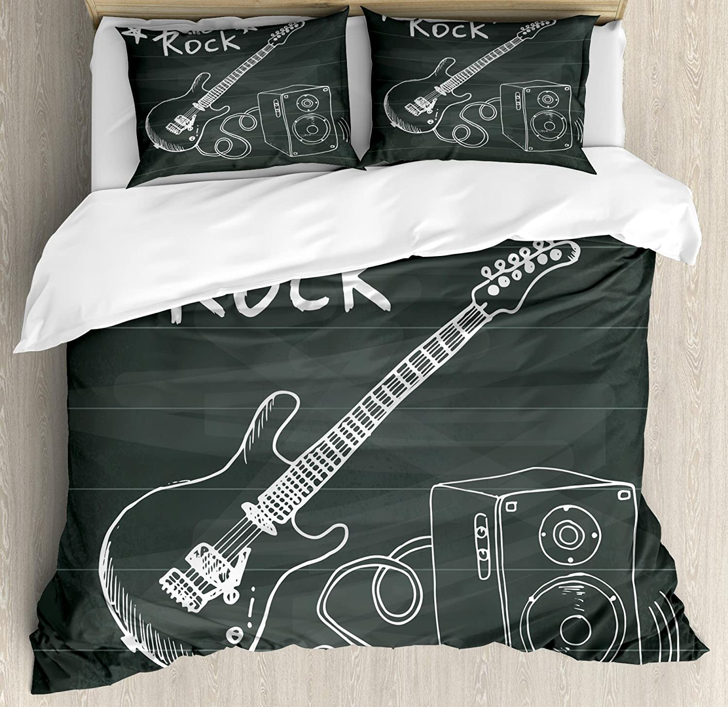 Ambesonne Guitar Duvet Cover Set, Love The Rock Music Themed Sketch Art Sound Box and Text on Chalkboard, Decorative 3 Piece Bedding Set with 2 Pillow Shams, Queen Size, Charcoal White