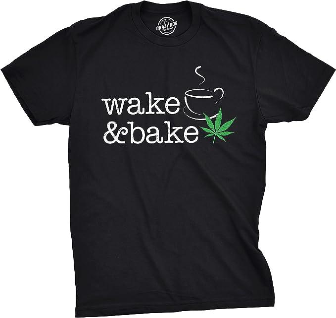 Crazy Dog T-Shirts Mens Wake and Bake Tshirt