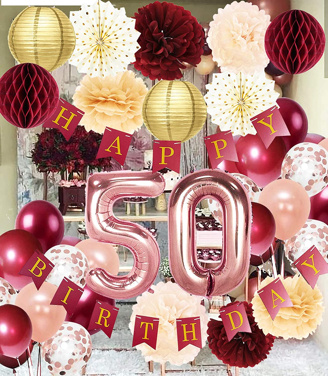 Amazon Com 50th Birthday Decorations For Women Burgundy Rose Gold Birthday Party Decorations Polka Dot Fans For 50 Fall Burgundy Rose Gold 50th Birthday Decorations Autumn Health Personal Care