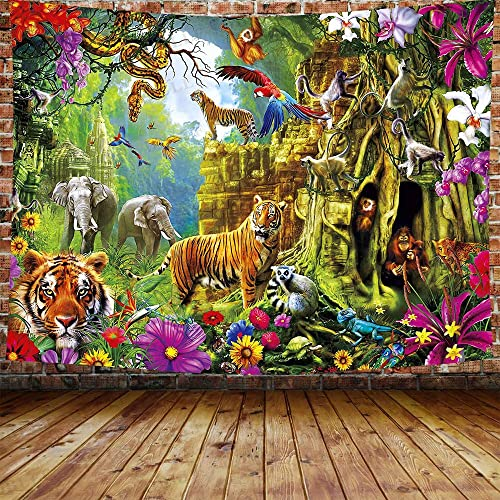 DBLLF Fantasy Forest Tapestry, Tiger in The Forest Standing and Gazing at The Camera Beast Habitat Picture, Wide Wall Hanging for Bedroom Living Room Dorm 80 60 inches DBLS1057