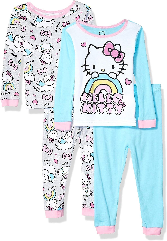 Hello Kitty Girls' 4-Piece Cotton Pajama Set