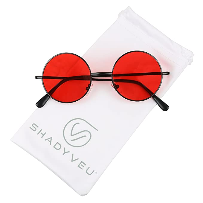 ShadyVEU - Retro Colorful Tint Lennon Style Round Groovy Hippie Wire Sunglasses