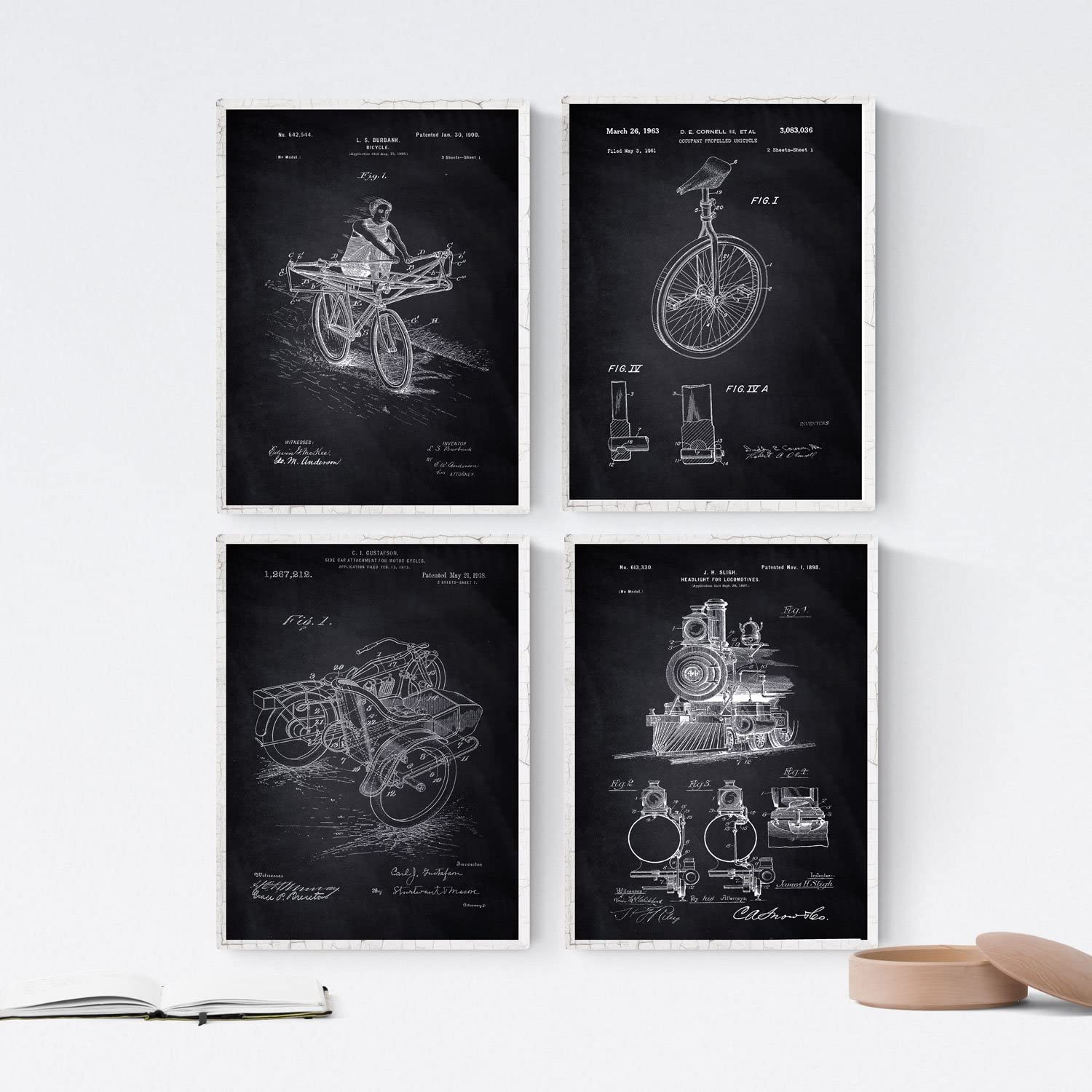 Nacnic Prints Vintage Patents Vehicle - Set of 4 - Unframed 8x11 inch Size - 250g Paper - Beautiful Poster Painting for Home Office Living Room