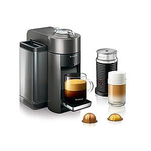 Nespresso Vertuo Evoluo Coffee and Espresso Machine with Aeroccino by De'Longhi, Titan