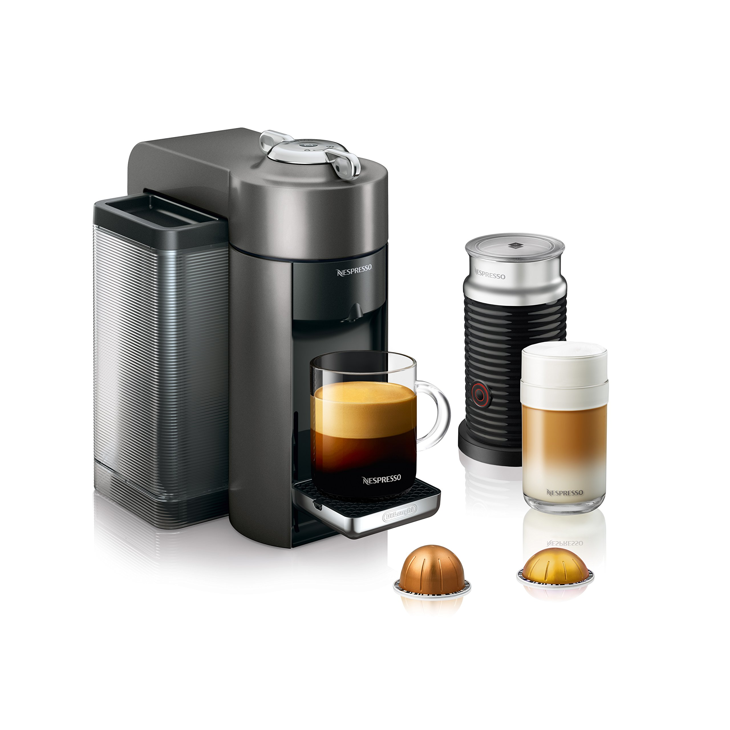 DeLonghi America ENV135TAE Nespresso Vertuo Evoluo Coffee and Espresso Machine with Aeroccino, Titan by DeLonghi America