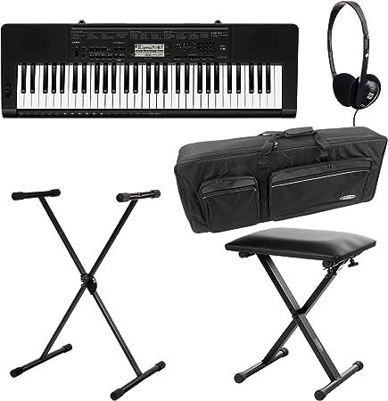 Casio CTK-1100 3500 Deluxe Set de teclado (61 teclas, 48 de compartimento POLYPHON, Dance Music Mode, Acompañamiento automático, incluye soporte, ...