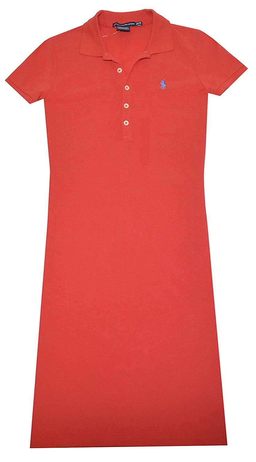98fe87157e Ralph Lauren Sport Womens Pony Logo Polo Shirt Dress (M, Deep Orange ...