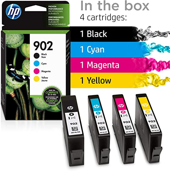 Magenta and Yellow Original Ink X4E05AN HP 902 Black 4 Cartridges Cyan