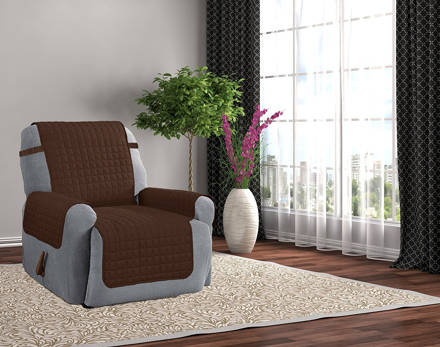 Microfiber Furniture Recliner Protector With 5 Tuck & Strap - Beige Kashi Home SC055100