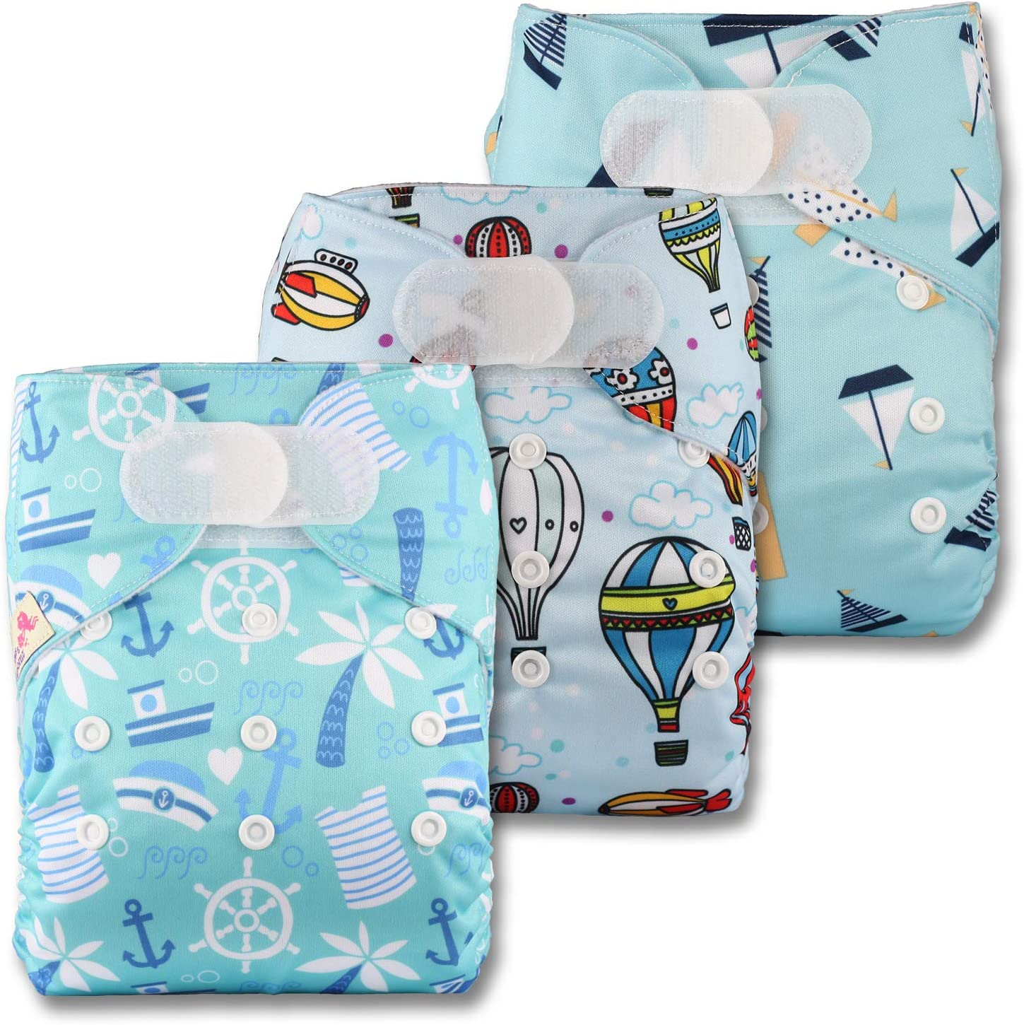 Littles /& Bloomz Set of 3 Patterns 323 with 6 Bamboo Inserts Reusable Pocket Cloth Nappy Fastener: Hook-Loop