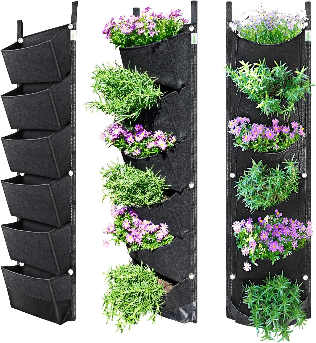 NEWKITS Vertical Wall Garden Planter with 6 Pockets Best Plant Growth Design Large Space Waterproof Breathable Use for Hanging Herb Garden Courtyard Office Home Decoration (Black)