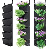 NEWKITS Hanging Vertical Planter with 6 Pockets, Large Capacity Vertical Wall Garden Planter Use for Garden Home Decoration