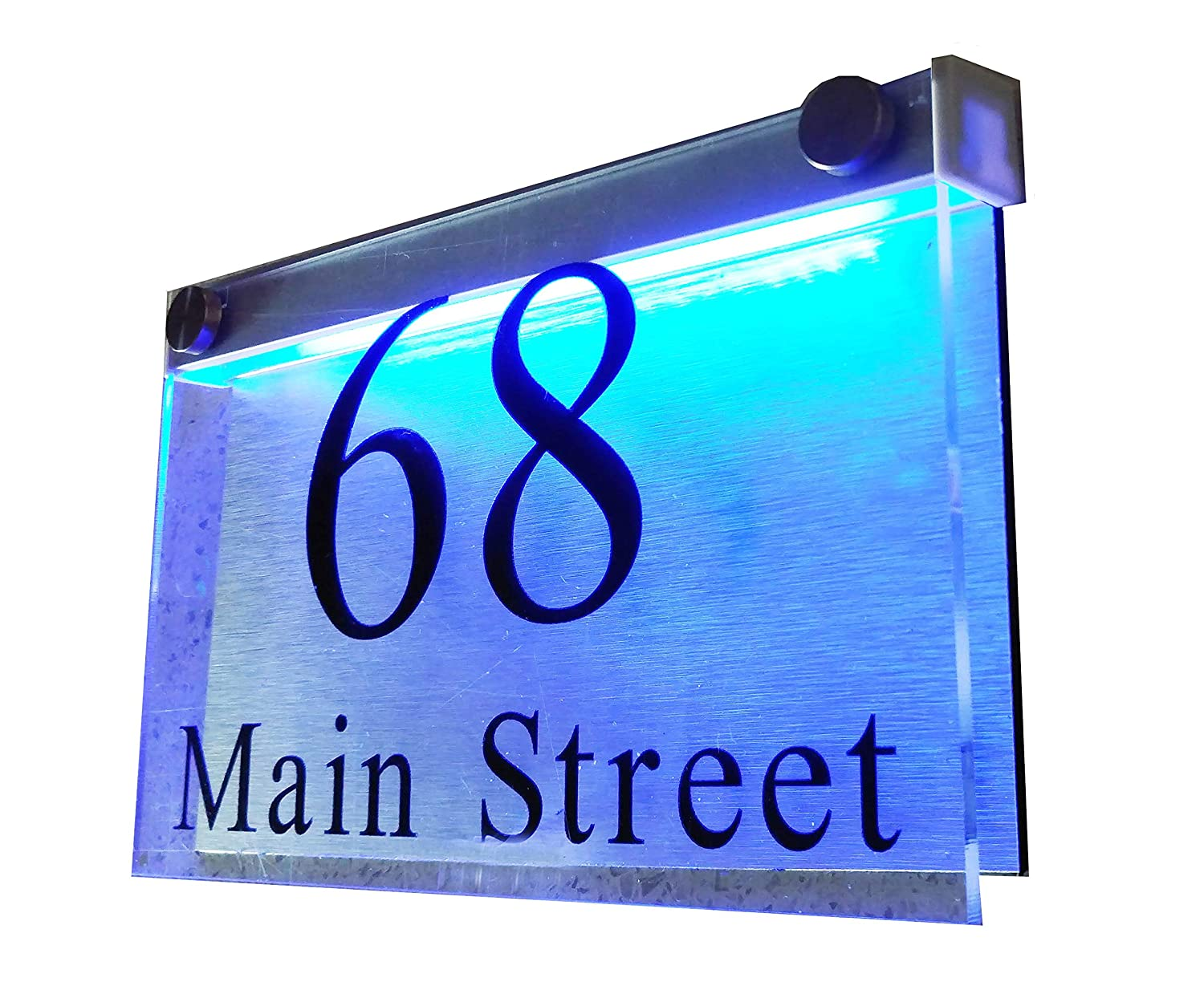 Thedisplaydeal led illuminated modern house numbers address plaque 8x5x1 rectangle clear acrylic and brushed aluminum background double panel rectangle