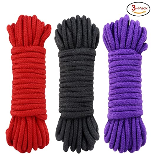 96 Feet Multi-Purpose Soft Cotton Rope 3 Pack (Black, Red, Purple)