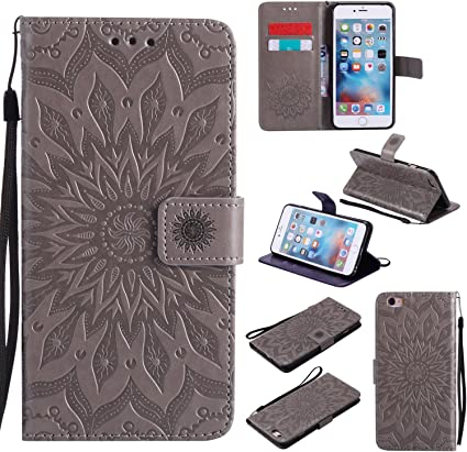 SONWO Premium PU Leather Folio Style Retro Flip Mandala Embossing Cover Case with Card Slots and Stand Function for iPhone 7 iPhone 8 Gray iPhone 8 Case iPhone 7