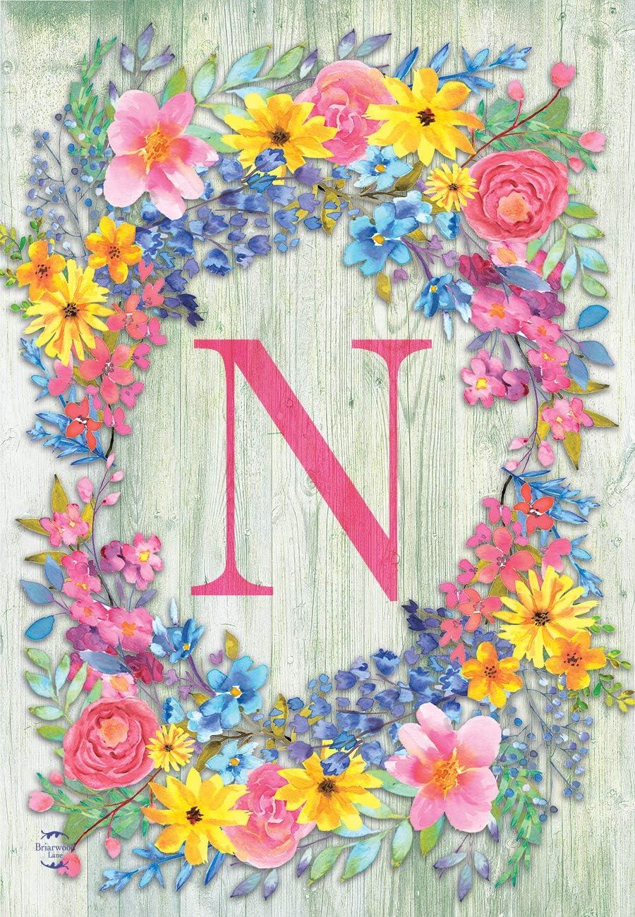 Briarwood Lane Spring Monogram Letter N Garden Flag Floral Wreath 12.5