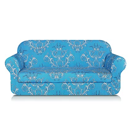 TIKAMI 2 Piece Sofa Slipcovers Floral Patterned Stretch Loveseat Covers  Washable Couch Protector For Living