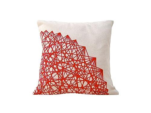 Cojín rojo dibujo geométrico, lino y algodón, 40 x 40 cm y ...