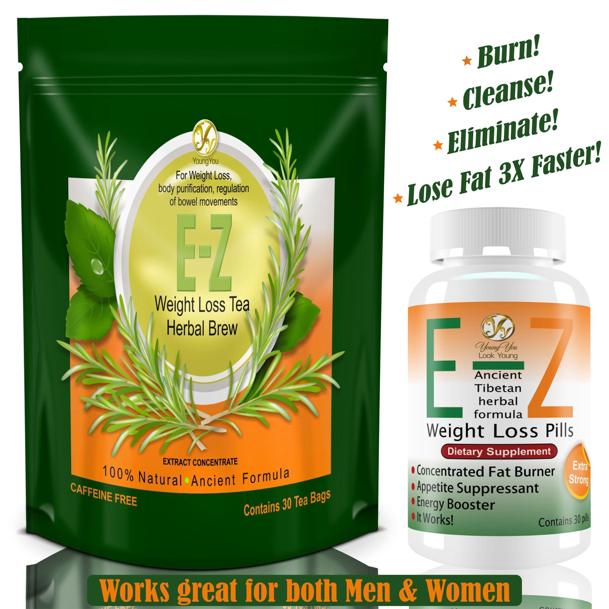 E-Z Weight Loss Pills + EASY Diet Tea. Fat Burner & Appetite Suppressant.