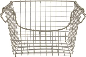 Spectrum Diversified Scoop Stackable Basket Vintage-Inspired Steel Wire Storage Bin, Pantry Storage & Closet Organizer, Modular Stacking System, Medium, Satin Nickel