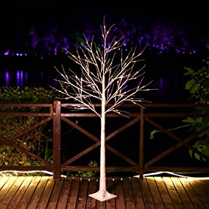 Brightdeco Lighted Birch Tree 6FT 96 LED Artificial Lamp for Indoor Use Great Décor for Home Bedroom Thanksgiving Christmas Easter Wedding Party Warm White