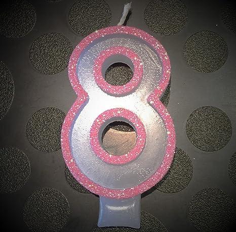 Amazon.com: wasiwax no (8) Vela de cumpleaños – Pink Glitter ...