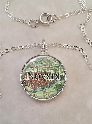 Novara Italy Map.Amazon Com Novara Italy 1625 Map 925 Sterling Silver Necklace