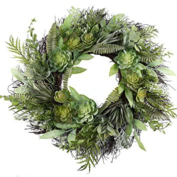 Artificial Outdoor Wreath With Lights 19 Inch Pumpkin Leaves Handcrafted Wreaths For Winter Home Decor Green Front Door Wreath For Garden