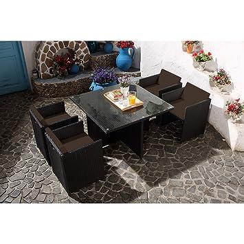 Concept-Usine Miami 4 Noir/Chocolat: salon de jardin encastrable 4 ...
