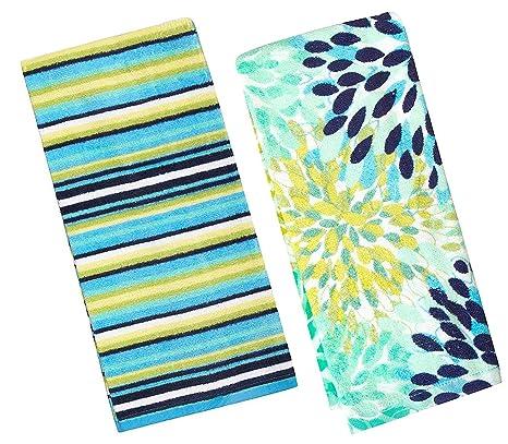 Fiesta Calypso turquesa flores y fresco azul rayas cocina juego de toallas