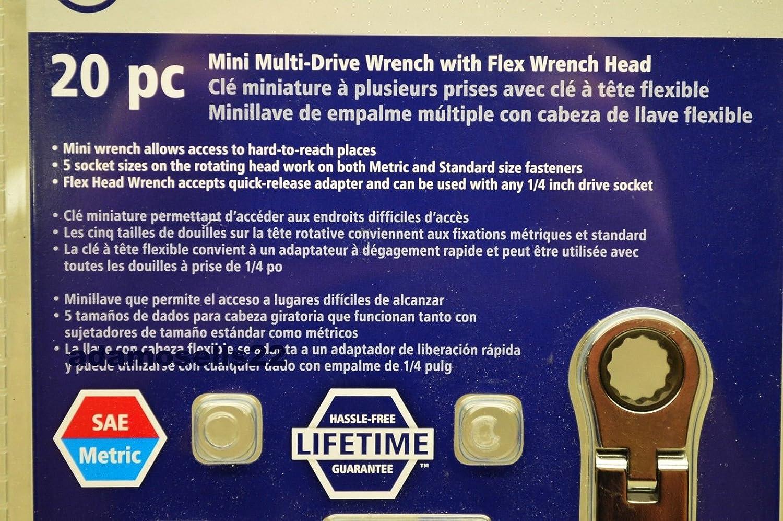 KOBALT 20pc MINI MULTI-DRIVE SOCKET WRENCH FLEX HEAD RATCHET 1/4 DR ADPTR & BITS - - Amazon.com
