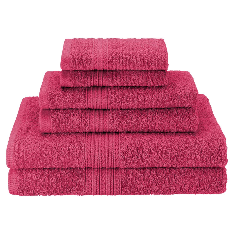 Superior - Juego de toallas de lavabo ecológicamente puras, de algodón, color turquesa, 40,6 x 76,2 cm, 6 piezas EF-HAND TQ