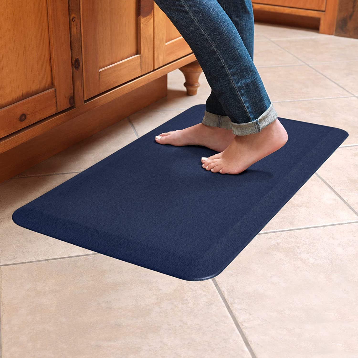 """NewLife by GelPro Anti-Fatigue Designer Comfort Kitchen Floor Mat, 20x32"""", Leather Grain Navy Stain Resistant Surface with 3/4"""" Thick Ergo-foam Core for Health and Wellness"""