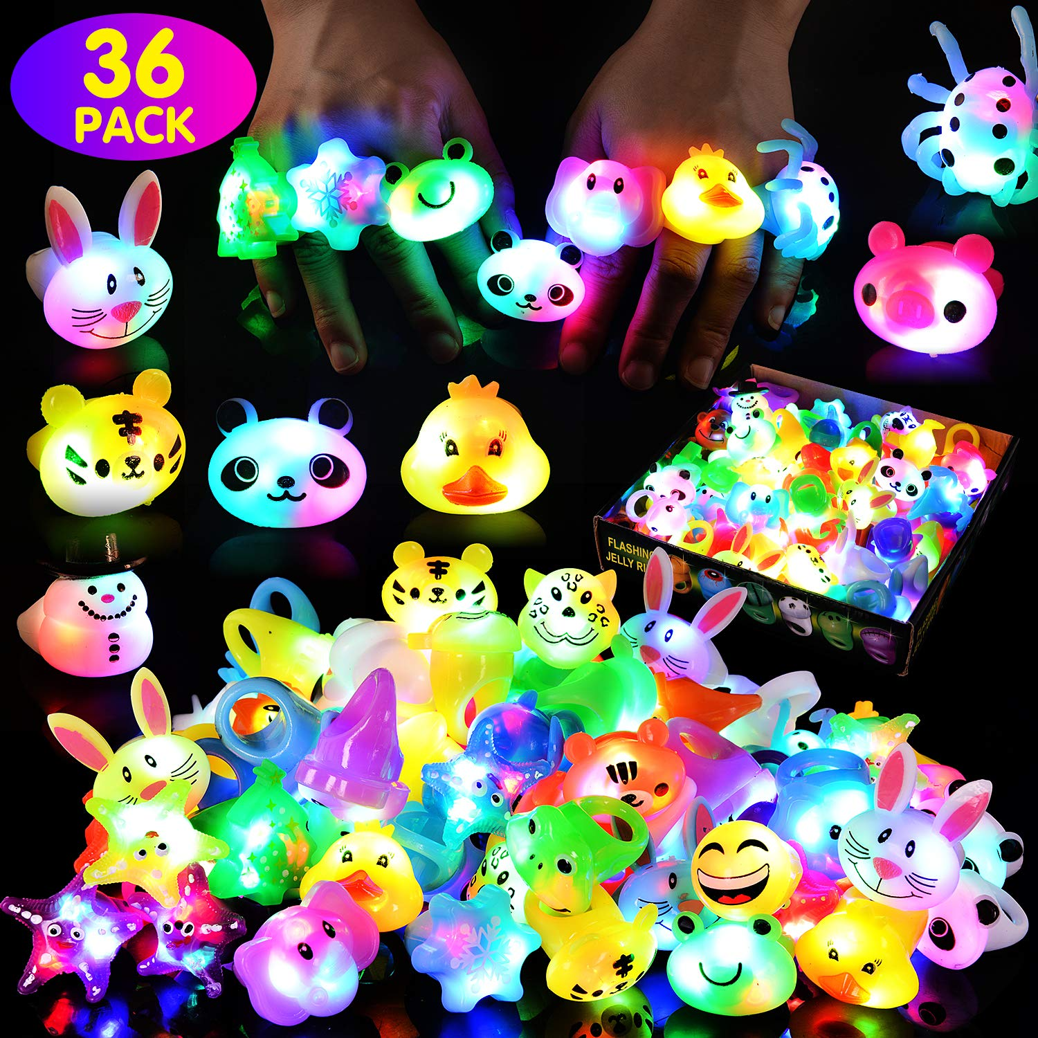 Victostar Party Favors for Kids Light up Rings Flashing Led Finger Toys Glow in The Dark Party Supplies by Victostar