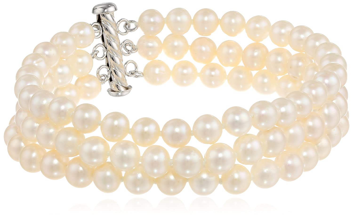 Sterling Silver Three-Row White A-Grade Freshwater Cultured Pearl Bracelet (6.5-7 mm), 8 8 Amazon Collection FWB6570AX3-8