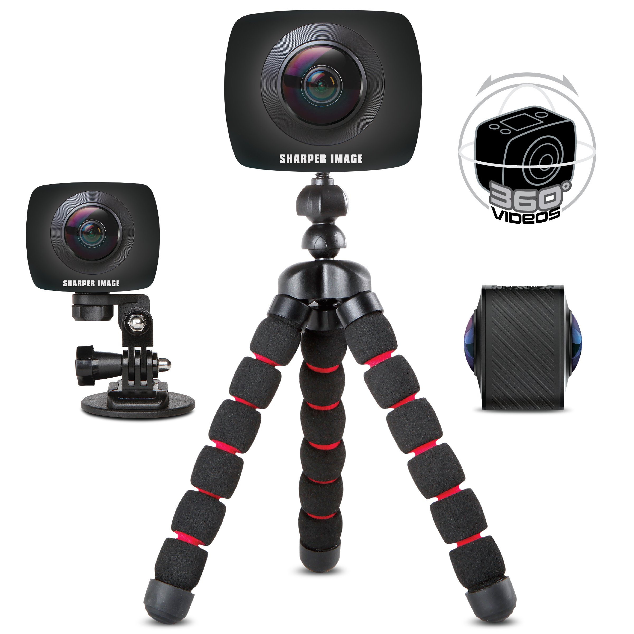 SHARPER Image 360 Action Camera w/Wide Dual Lens, Record 960P Video & Photos for VR Virtual Reality, Handheld Mini Tripod and Car Dash Cam Mount, Smartphone & Micro SD Card Compatible