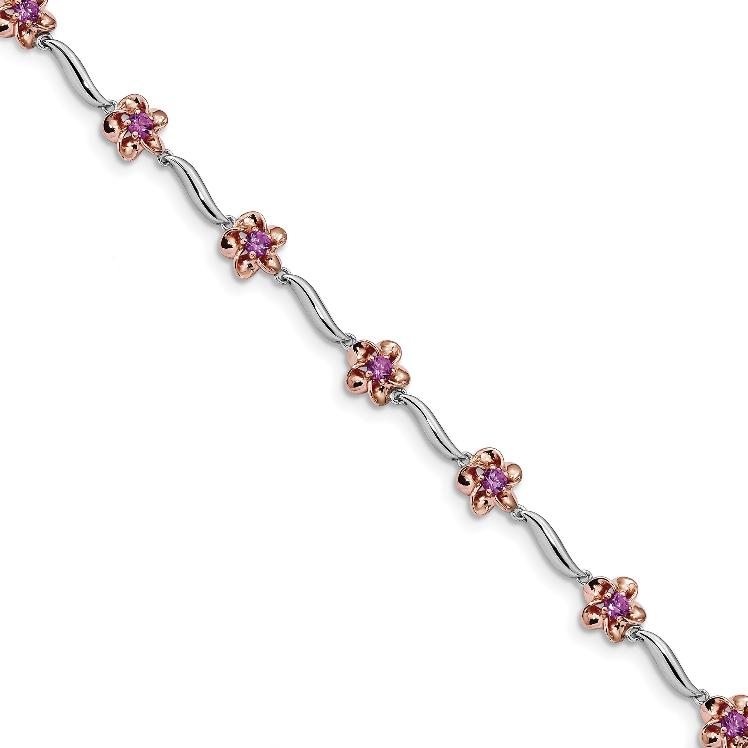 ICE CARATS 925 Sterling Silver Rose Tone Created Pink Sapphire Bracelet 7.5 Inch Gemstone Fine Jewelry Gift Set For Women Heart