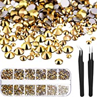 TecUnite 1728 Pieces Crystals Nail Art Rhinestones Round Beads Flatback Glass Charms Gems Stones and 2 Pieces Tweezers…