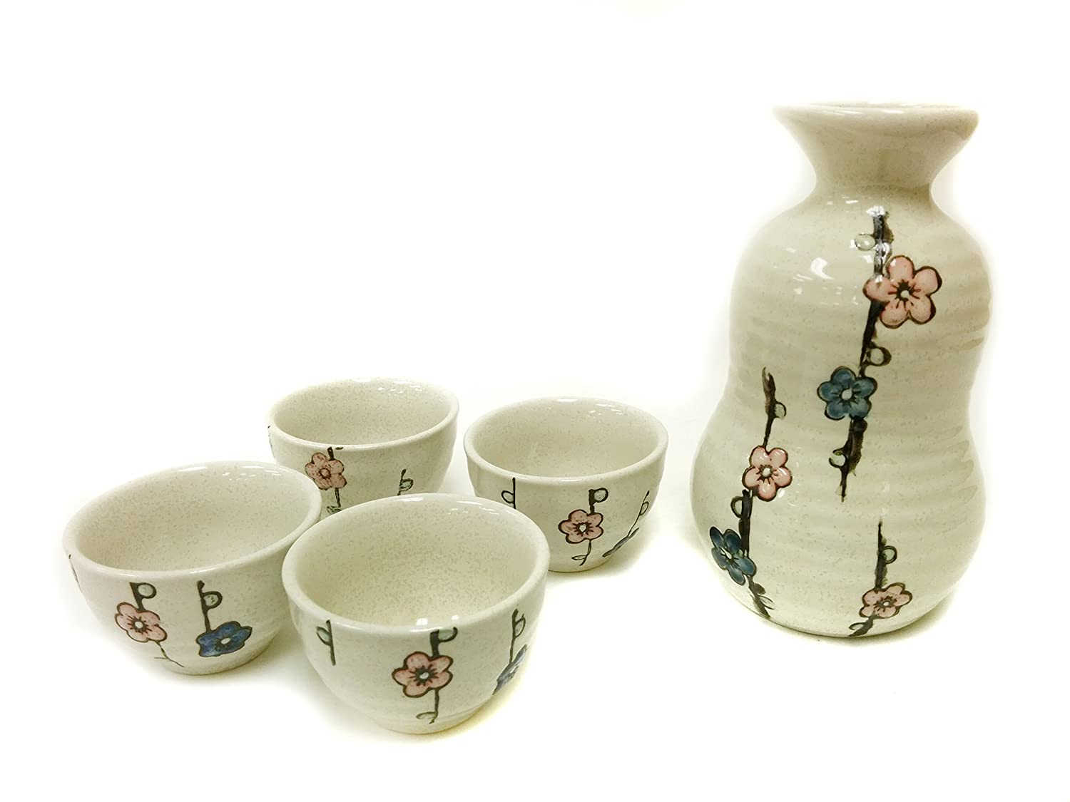 Adeline 5 Piece Blossom Japanese Sake Set, Ceramic