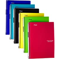 Mead FBA_6180 Five Star Spiral Notebook, College Ruled, 2 Subject, 6 x 9.5 Inches, 100 Sheets, Assorted Colors, 6 Pack