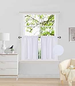 """Elegant Home 2 Panels Tiers Small Window Treatment Curtain Insulated Blackout Drape Short Panel 28"""" W X 36"""" L Each for Kitchen Bathroom or Any Small Window # R5 (White)"""