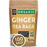 Organic Ginger Tea Bags | 100 Tea Bags | Eco-Conscious Tea Bags in Kraft Bag | Raw from India | by FGO