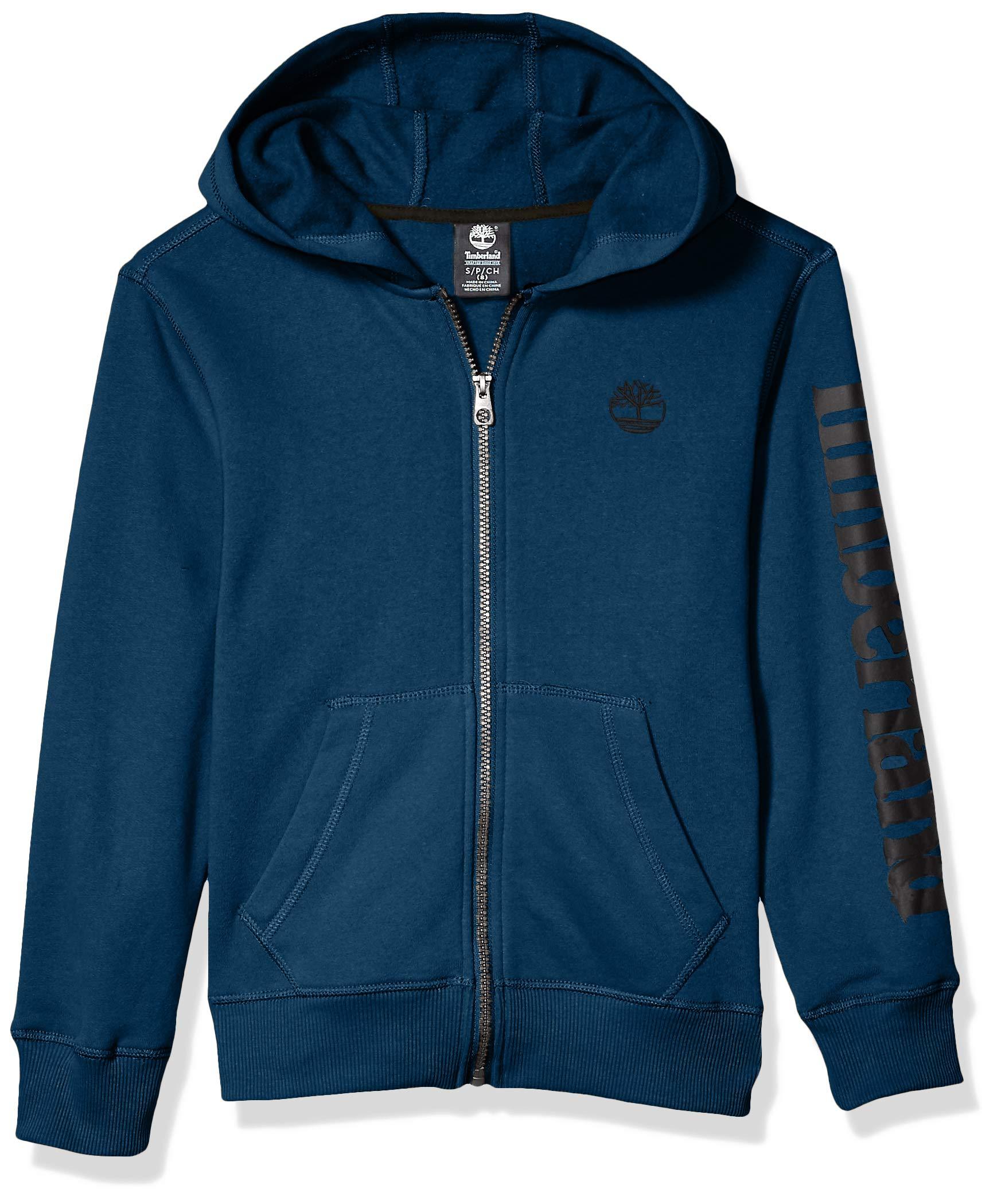 Timberland Boys' Big Full Zip Hooded Logo Sweatshirt