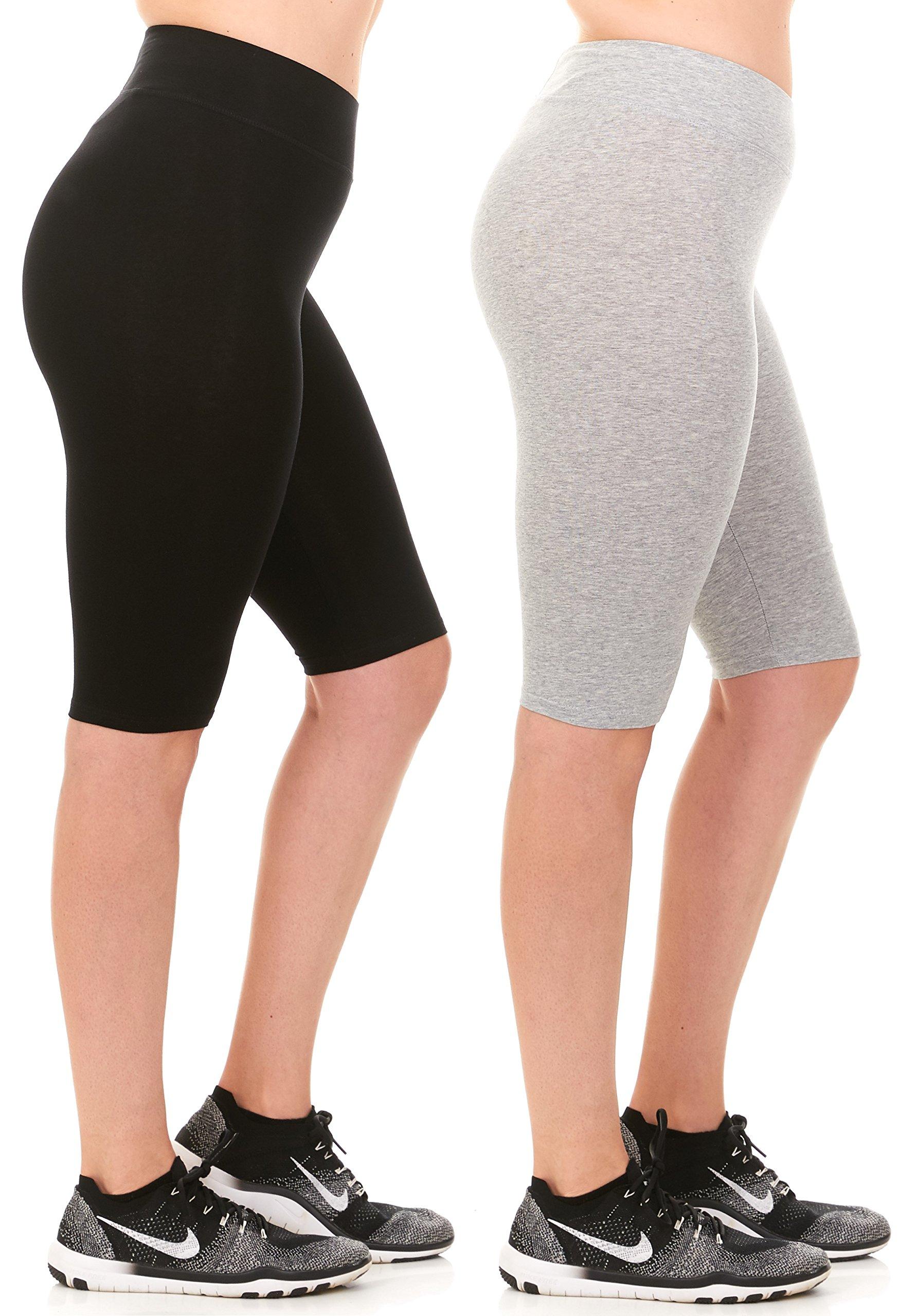 Unique Styles Womens Cotton Capri Leggings High Waistband Biker Shorts for Women