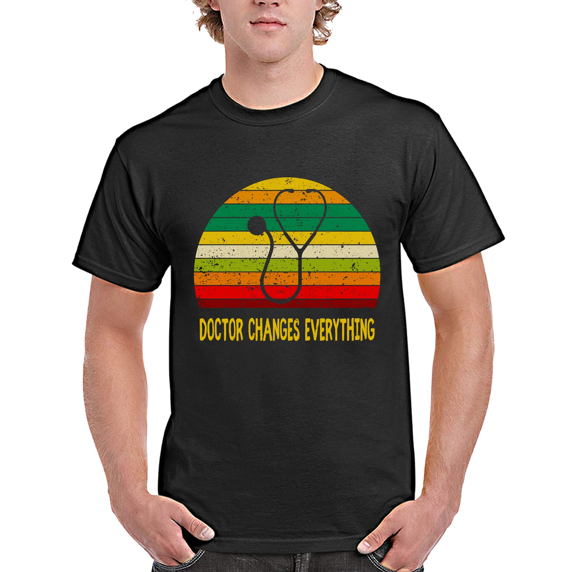 Funny Doctor Vintage Retro Tshirt Doctor Changes Everything For