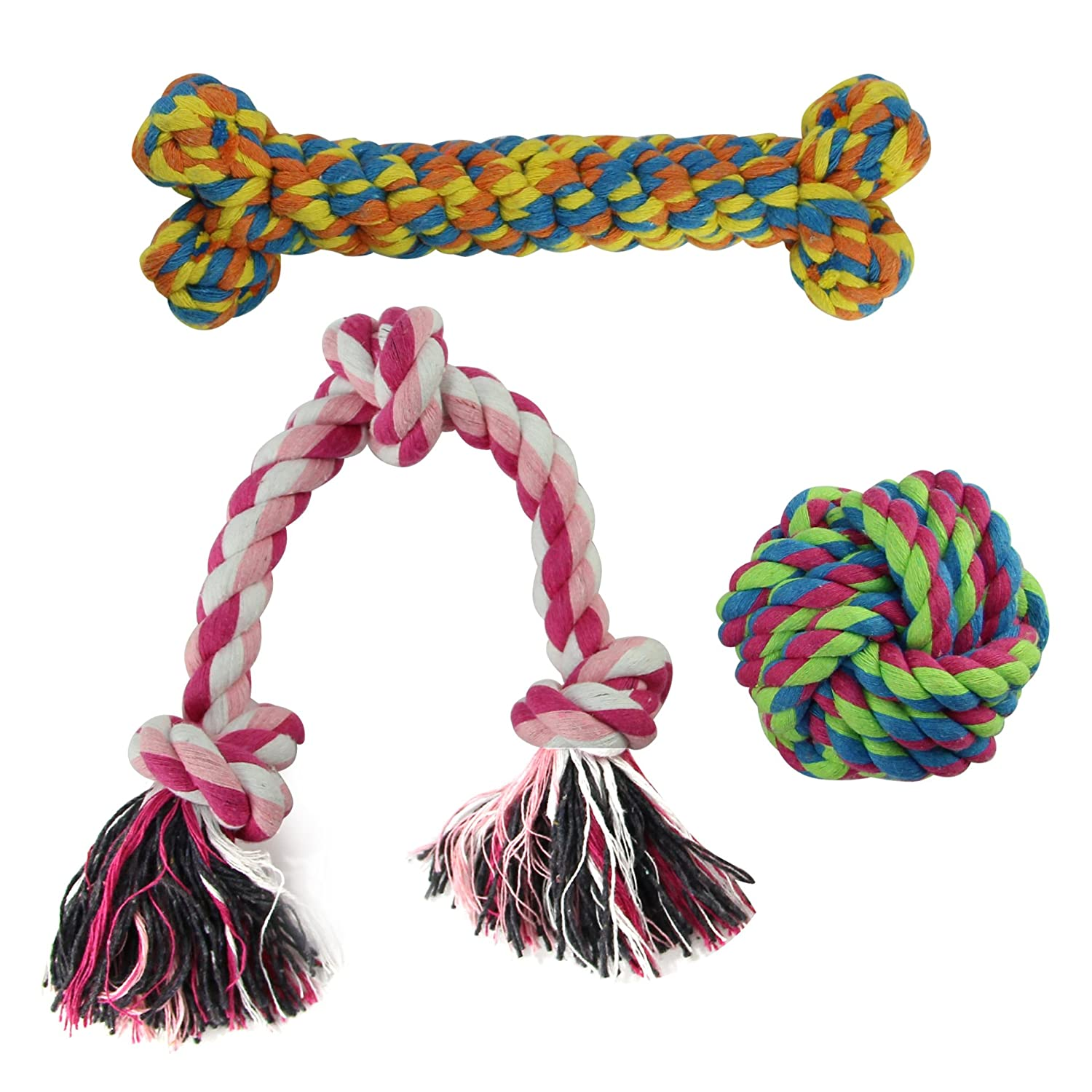 MEWTOGO Pet Chew Durable Rope Toys-Teeth Aids Cotton Ropes for Small Dogs-Pack of 3