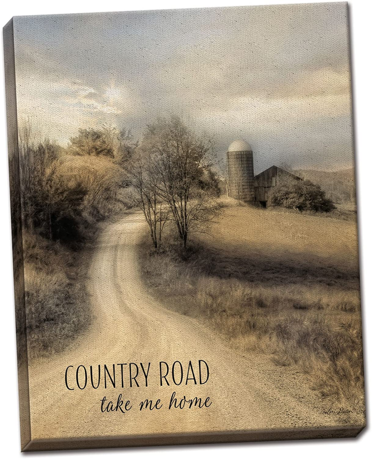 Gango Home Decor Country-Rustic Country Road Take Me Home by Lori Deiter (Ready to Hang); One 12x16in Hand-Stretched Canvas