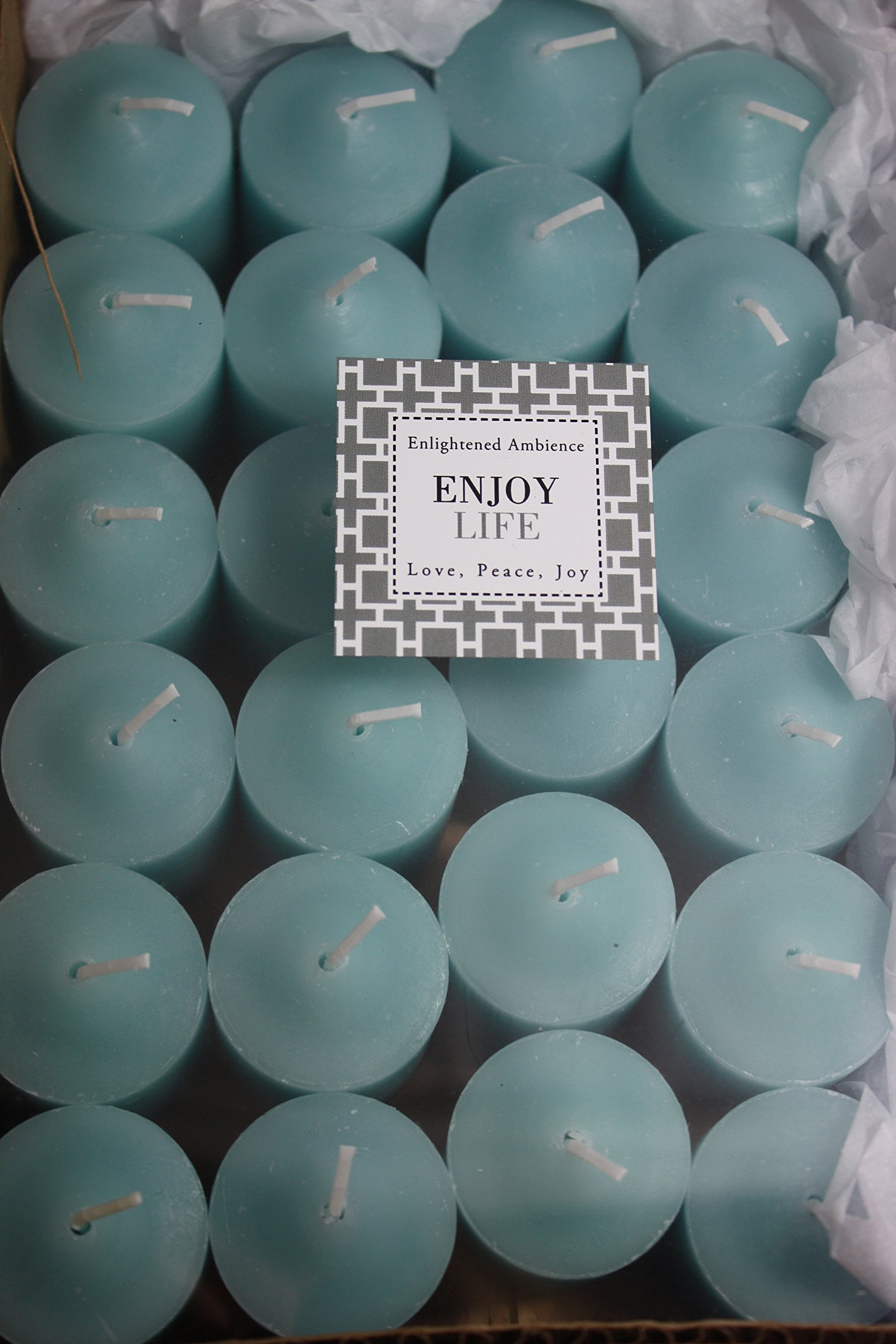 Enlightened Ambience Votive Candles Scented Fresh Blue Water in Blue, Long-Burning, Bulk Set of 24 by Enlightened Ambience